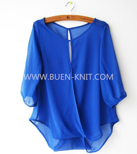 Chiffon knitted fabric on circular knitting machine